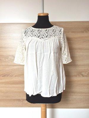 20063015 Weiße Spitzen Bluse von Zara, Gr. M (NEU)