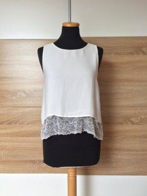 20063016 Weiße Spitzen Bluse, Top von Zara, Gr. XS (NEU)