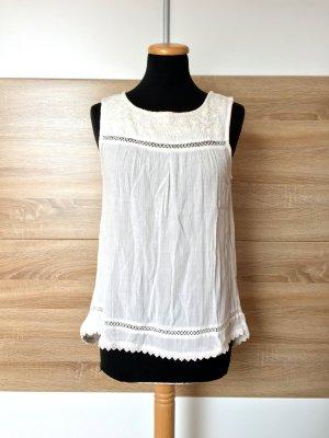 20063017 Weiße Stickerei Bluse, Top von Mango, Gr. S