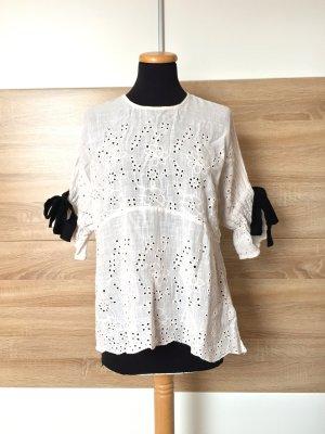 20063019 Weißes Lochmuster Schleifen Hemd, Bluse von Zara, Gr. S