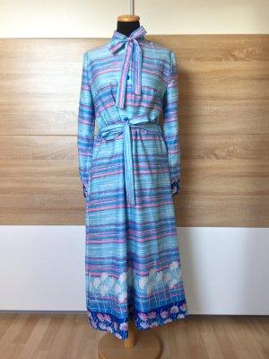 20072101 True Vintage blaues Maxi Kleid, Streifen Schleife, Gr. M