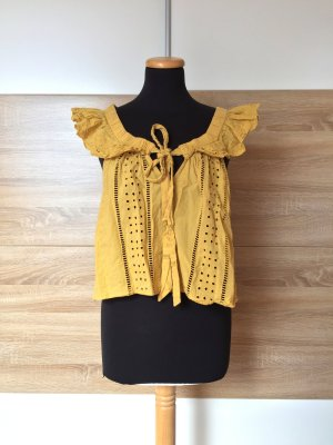 20072106 Gelbe offshoulder Top Lochmuster Bluse von Zara, Gr. M