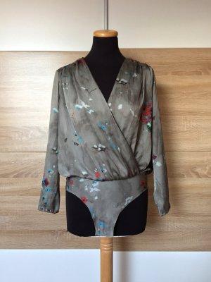 20072108 Grau Blumen Blusen Body von Zara, Gr. S (NEU)