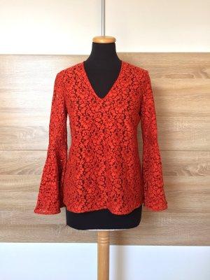 20072201 Orange Spitzen Bluse Volant von Zara, Gr. S (NEU)
