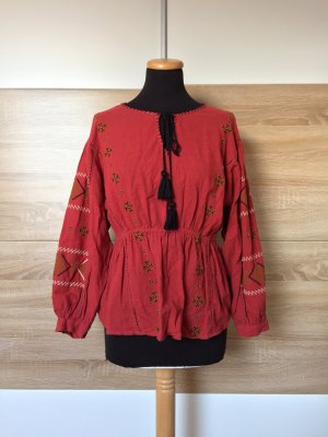 20072402 Rote Stickerei Schnürung Bluse von Zara, Gr. S