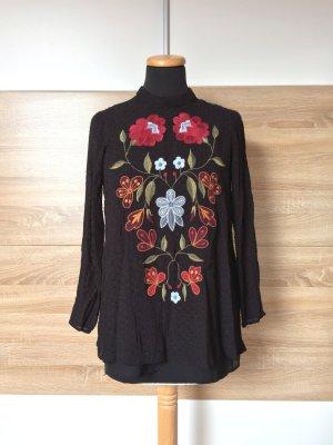 20072501 Schwarze Blumen Stickerei Bluse von Zara, Gr. S