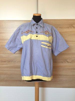 20072508 True Vintage blau Patch Hemd, Baumwolle Shirt, Gr. M