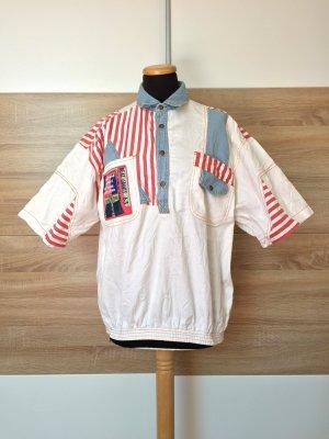 20072511 True Vintage weiß Patch Hemd, Baumwolle Shirt, Gr. M