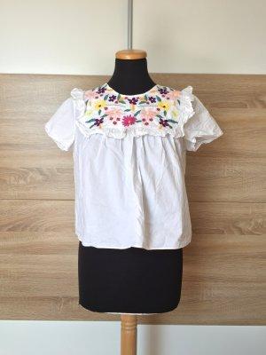 20072515 Weiße Blumen Stickerei Bluse von Zara, Gr. S