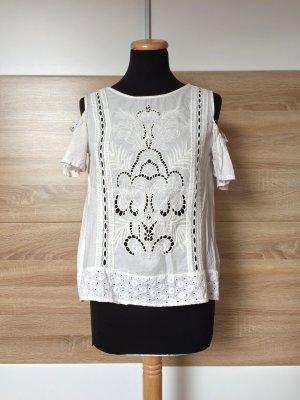 20072516 Weiße Blumen Stickerei offshoulder Bluse von Zara, Gr. XS