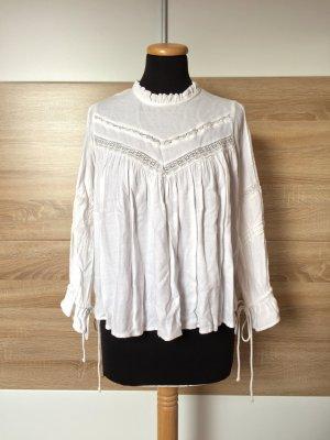 20072517 Weiß Stickerei Rüschen Bluse von Mango, Gr. XS (NEUw.)