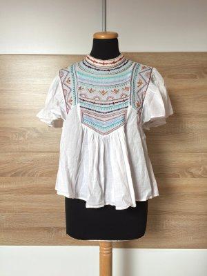 20072518 Weiße Stickerei Bluse von Zara, Gr. S (NEUw.)