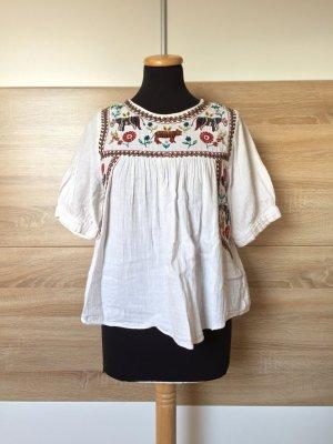 20072520 Weiße Stickerei Bluse von Zara, Gr. XS (NEUw.)