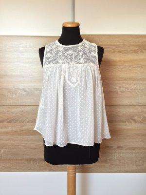 20072523 Weiße Stickerei Bluse Top von Zara, Gr. S (NEU)