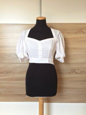 20072529 Weiße Puffärmel Cropp Bluse, Top von Zara, Gr. XS (NEUw.)