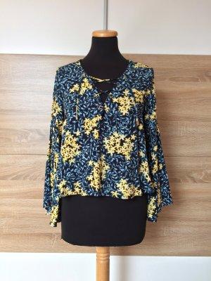 20080905 Blaue Blumen Volants Schnürung Bluse von Zara, Gr. S (NEU)