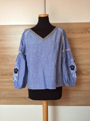 20080906 Blaue Stickerei Leinen Baumwoll Bluse von Zara, Gr. L (NEUw.)