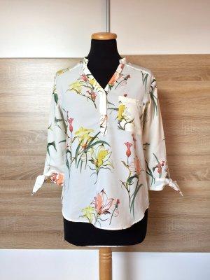 20080907 Weiß creme Blumen Bluse von Zara, Gr. XS (NEU)