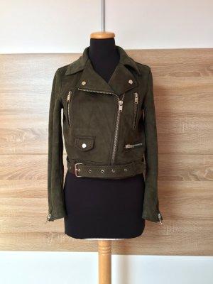20080911 Khaki grün Bikerjacke, Lederjacke von Zara, Gr. M (NEU)