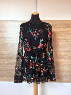 20080921 Schwarze Blumen Stickerei Netz Bluse von Zara, Gr. L (NEUw.)