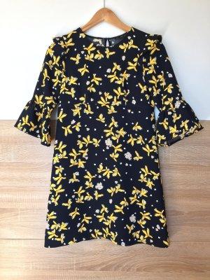 20080922 Schwarz gelb Blumen Langarm Kleid von Zara, Gr. XS (NEU)