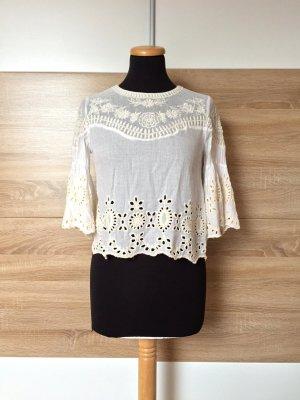 20080924 Weiße Lochmuster Stickerei Bluse von Zara, Gr. XS
