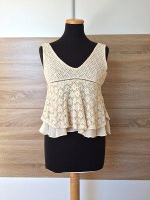 20080925 Weiß nude Häkel Top, Bluse von Zara, Gr. XS (NEUw.)