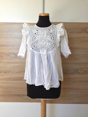 20080926 Weiße Lochmuster Stickerei Bluse von Zara, Gr. XS