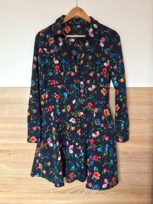 20081801 Blau Blumen Langarm Kleid, Jumpsuit von Zara, Gr. M (NEU)