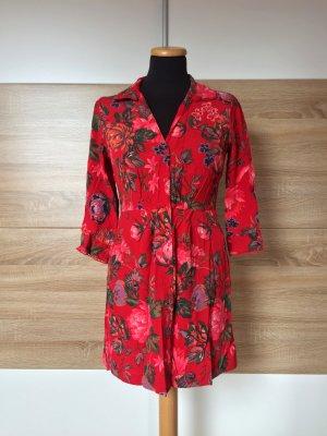 20081802 Rotes Blumen Kleid von Zara, Gr. S