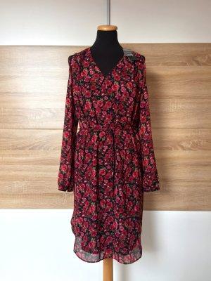 20083002 Schwarz rot Blumen Kleid von Ralph Lauren, Gr. 36 (NEU)