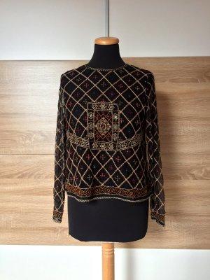 20090801 Schwarze Stickerei Bluse von Zara, Gr. M