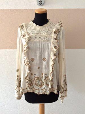 20101102 Weiß beige Rüschen Blumen Stickerei Bluse von Zara, Gr. L (NEU)