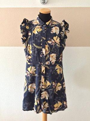 20101103 Blau gelb Blumen Denim Jumpsuit von Zara, Gr. S