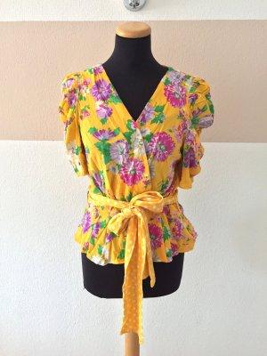 20110110 Gelb Blumen Wickelbluse von Zara, Gr. XL (NEU)