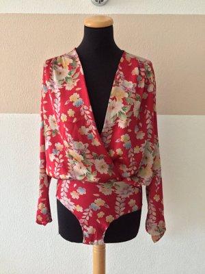 20110204 Roter Blumen Body Bluse von Zara, Gr. M (NEUw.)