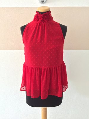 20110206 Rote Blumen Top Bluse von Zara, Gr. S (NEUw.)