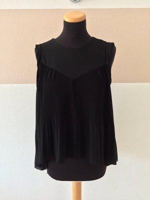 20110308 Schwarzes Plissee Top Bluse von Zara, Gr. S