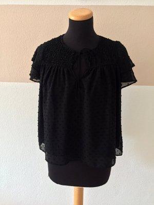 20110309 Schwarze Punkte Rüsch Bluse von Zara, Gr. XS