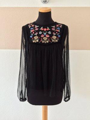 20110311 Schwarze Netz Blumen Stickerei Bluse von Zara, Gr. S (NEU)