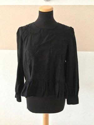 20110313 Schwarz Blumen Stickerei Seide Bluse von Zara, Gr. XS (NEU)