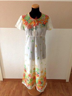 20110404 True Vintage weißes Blumen Maxi Kleid, Gr. 36/38