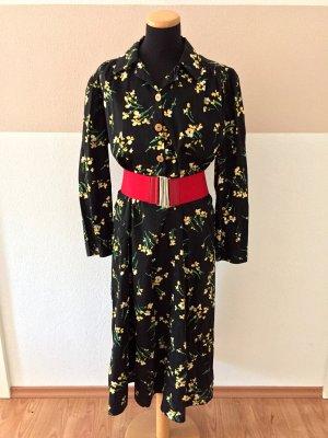 20110406 True Vintage 1940 schwarz Blumen Kleid mit Gürtel, Gr. L (NEUw.)