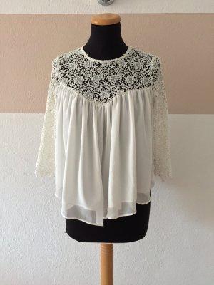 20110409 Weiße Häkel Spitze Bluse von Zara, Gr. M