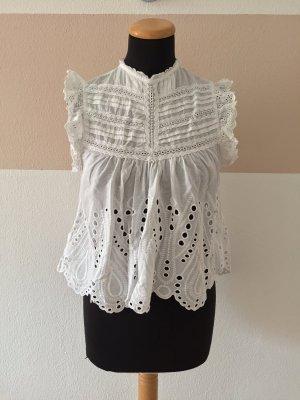 Zara Blusa senza maniche bianco Tessuto misto