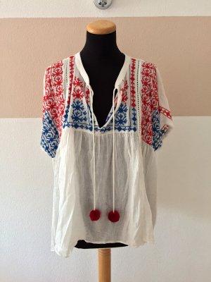 20110709 Weiß rot blau Stickerei Baumwolle Bluse von Zara, Gr. XL (NEU)