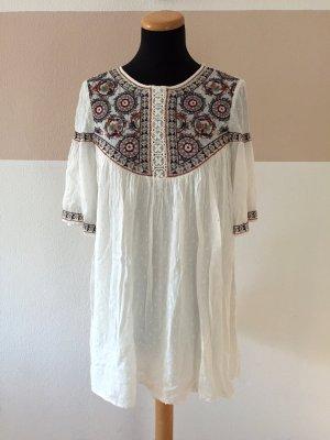 20110712 Weiße Stickerei Jumpsuit Tunika Kleid von Zara, Gr. S