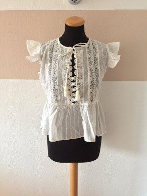 20111706 Weiße Bommel Stickerei Bluse von Zara, Gr. S (NEUw.)