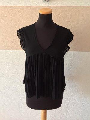 20123106 Schwarze Plissee Falten Bluse von Zara, Gr. XS (NEUw.)