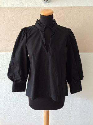 20123107 Schwarze Basic Puffärmel Bluse Baumwolle von Zara, Gr. M (NEU)